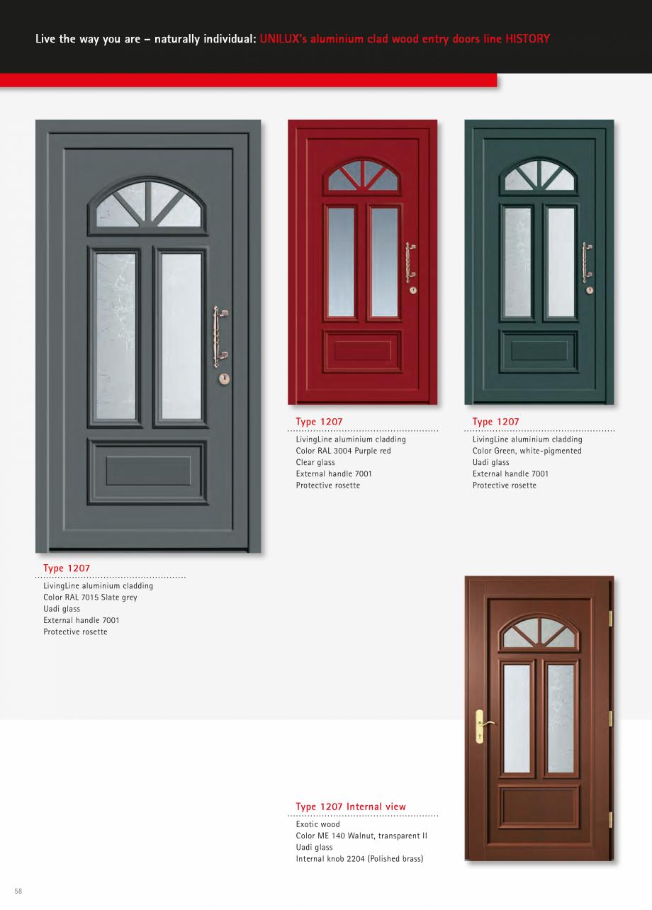 Catalog, brosura Usi de exterior UNILUX Usi de exterior din lemn-aluminiu UNILUX CONSTRUCT  - Pagina 58