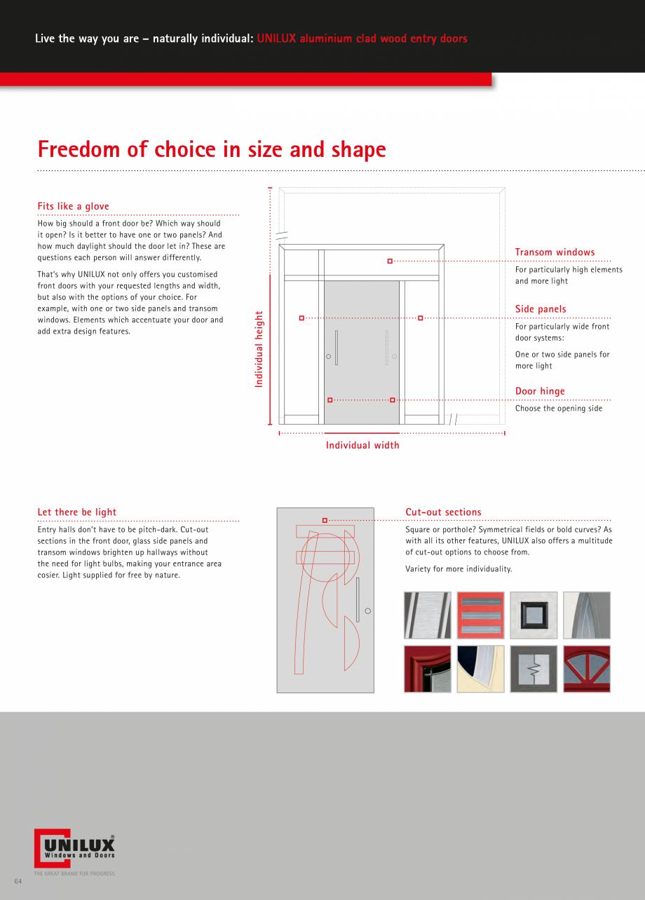 Catalog, brosura Usi de exterior UNILUX Usi de exterior din lemn-aluminiu UNILUX CONSTRUCT  - Pagina 64
