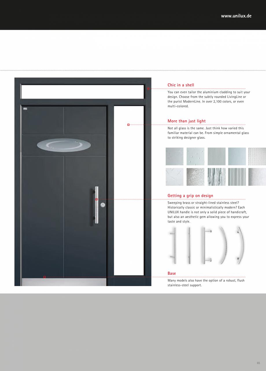 Catalog, brosura Usi de exterior UNILUX Usi de exterior din lemn-aluminiu UNILUX CONSTRUCT  - Pagina 65