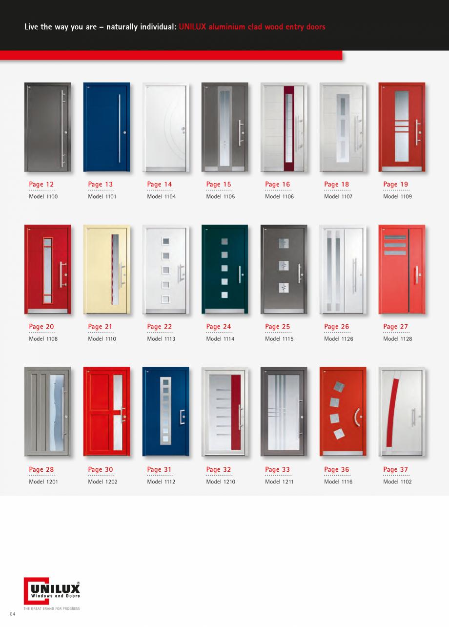 Catalog, brosura Usi de exterior UNILUX Usi de exterior din lemn-aluminiu UNILUX CONSTRUCT  - Pagina 84