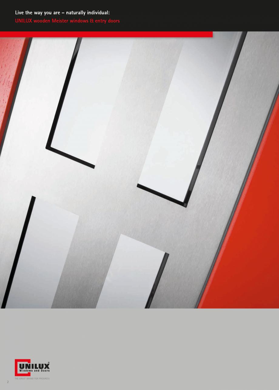 Catalog, brosura Usi de exterior UNILUX Usi de exterior din lemn-aluminiu UNILUX CONSTRUCT dividual: UNILUX wooden Meister windows & entry doors  4  www.unilux.de  UNILUX  One brand. One... - Pagina 2