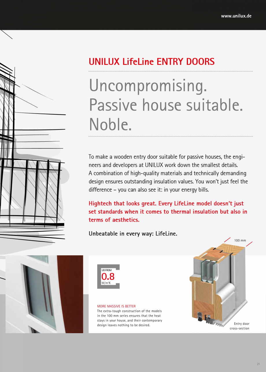 Catalog, brosura Usi de exterior UNILUX Usi de exterior din lemn-aluminiu UNILUX CONSTRUCT ss strips: Possible to see through, but only from directly at the door. Glass details  24  www... - Pagina 21