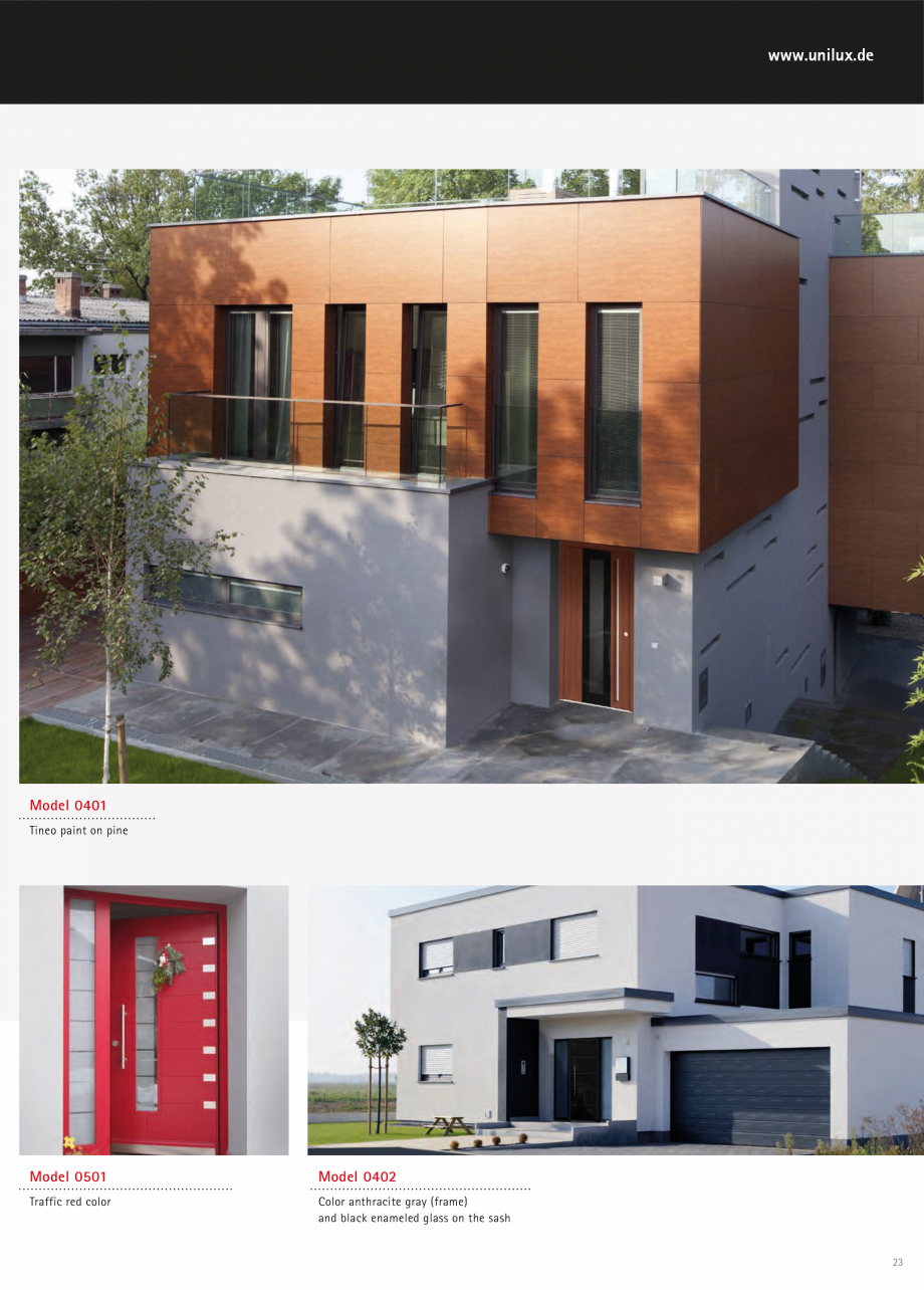 Catalog, brosura Usi de exterior UNILUX Usi de exterior din lemn-aluminiu UNILUX CONSTRUCT  cast there Door leaf of multi-layered board, reinforced with a massive wooden frame and built-in... - Pagina 23