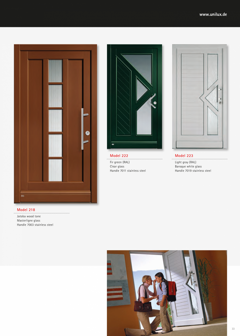 Catalog, brosura Usi de exterior UNILUX Usi de exterior din lemn-aluminiu UNILUX CONSTRUCT  answer differently.  For particularly high elements and more light  Sidelights Custom height  That ... - Pagina 33