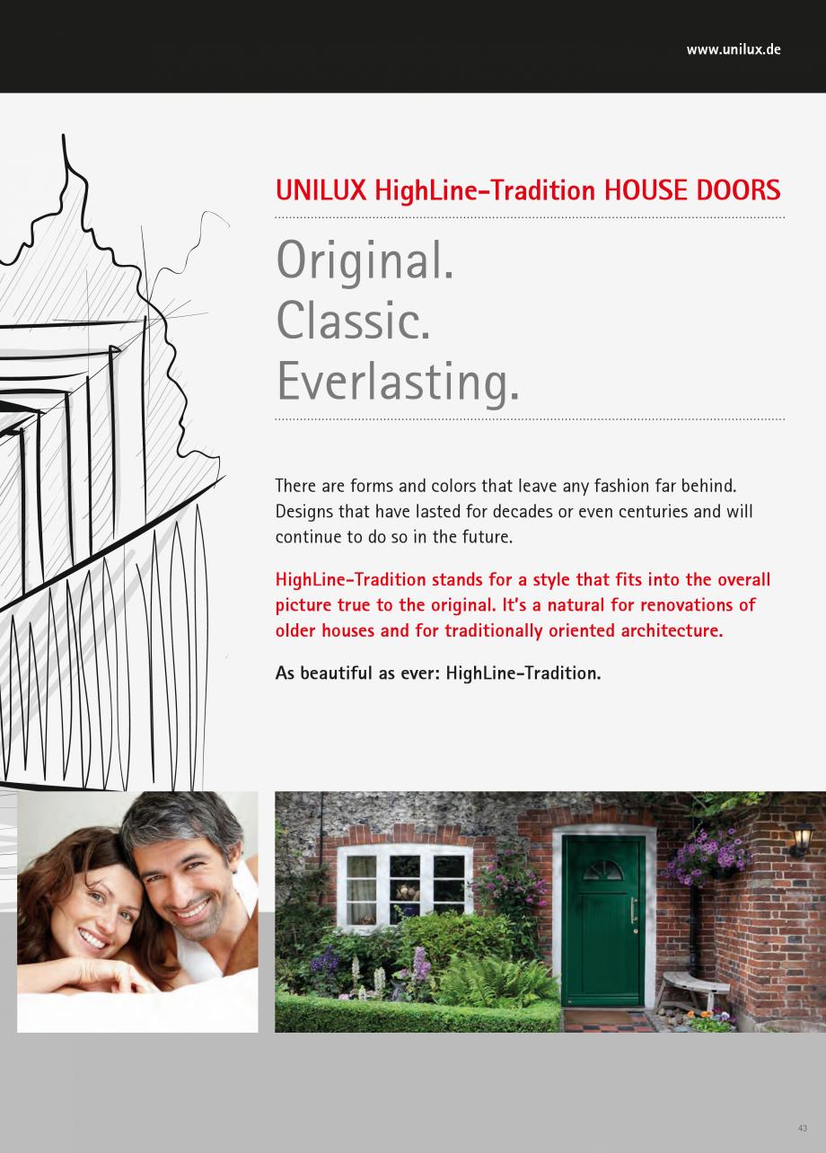 Catalog, brosura Usi de exterior UNILUX Usi de exterior din lemn-aluminiu UNILUX CONSTRUCT  Model 209  Model 11  Page 54  Page 54  Page 55  Page 55  Page 55  Page 56  Page 56  Model 12  Model... - Pagina 43