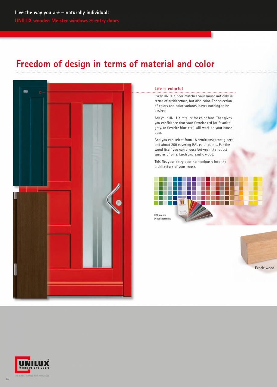 Catalog, brosura Usi de exterior UNILUX Usi de exterior din lemn-aluminiu UNILUX CONSTRUCT  - Pagina 62