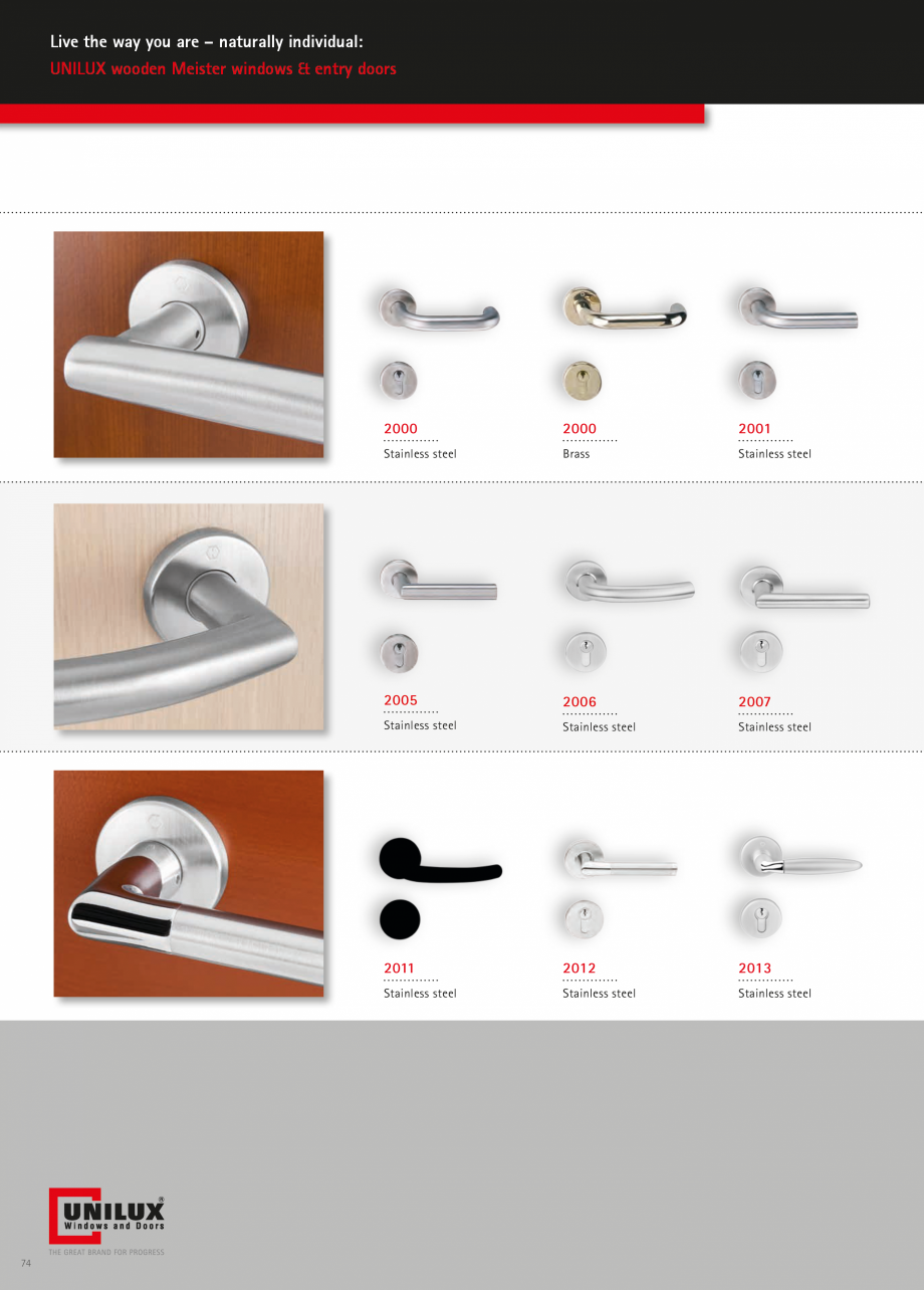 Catalog, brosura Usi de exterior UNILUX Usi de exterior din lemn-aluminiu UNILUX CONSTRUCT  - Pagina 74