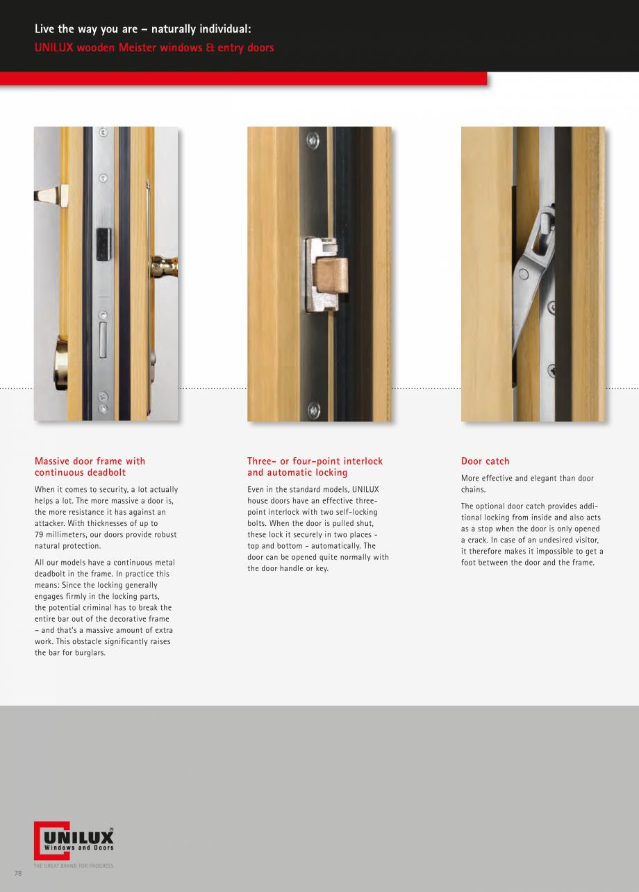 Catalog, brosura Usi de exterior UNILUX Usi de exterior din lemn-aluminiu UNILUX CONSTRUCT  - Pagina 78