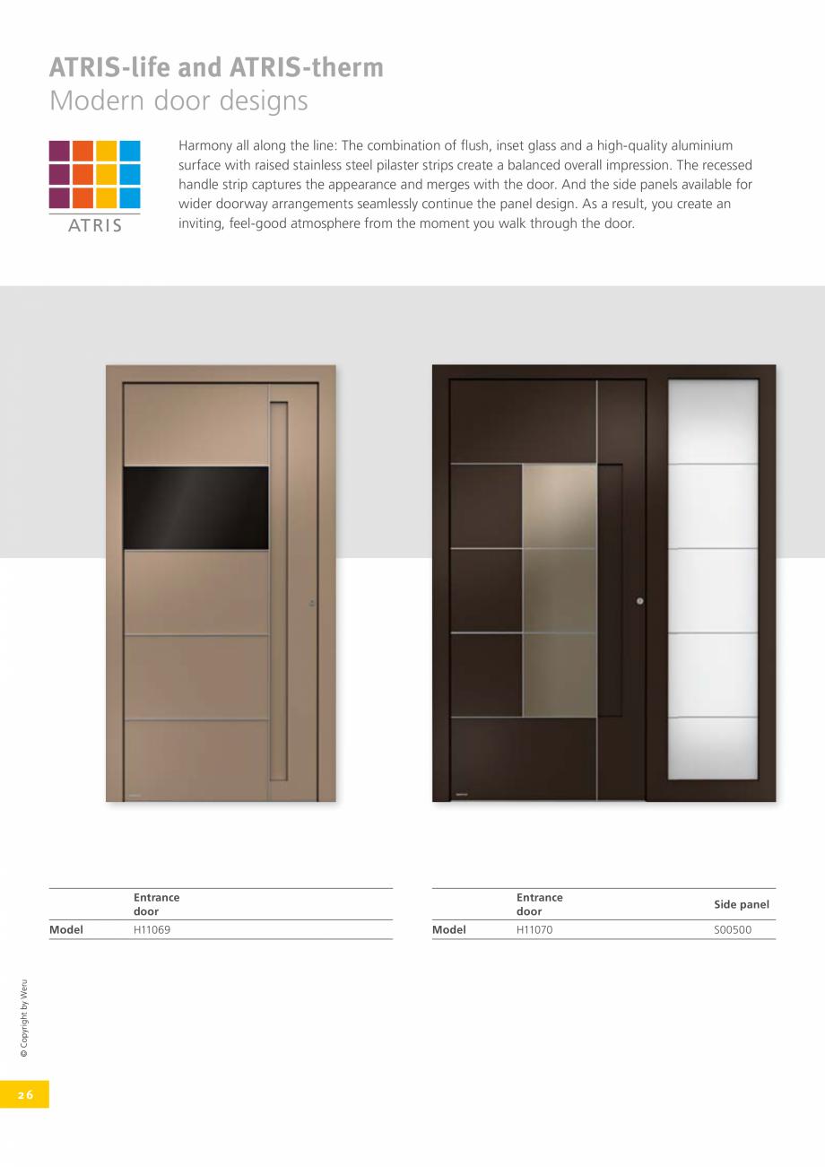 Pagina 26 - Usi de exterior din lemn-aluminiu UNILUX Catalog, brosura Engleza opyright by Weru ...