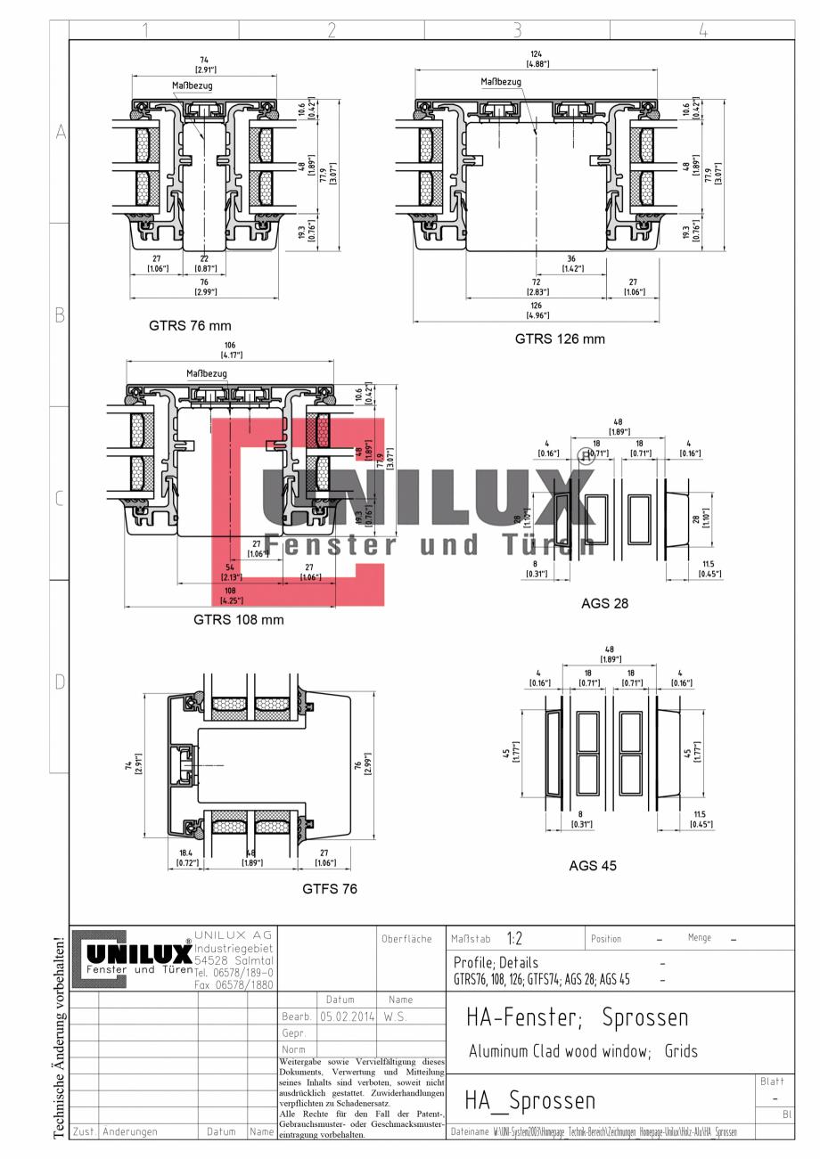 Pagina 1 - CAD-PDF Ferestre din lemn placat cu aluminiu UNILUX Detaliu de montaj