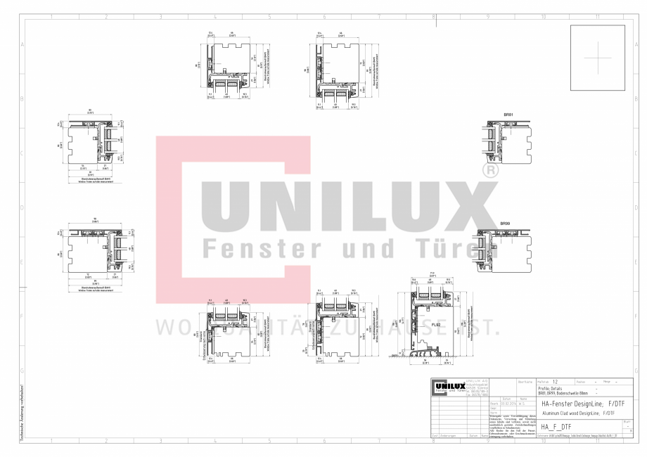 Pagina 1 - CAD-PDF Ferestre din lemn placat cu aluminiu - Detaliu post fix UNILUX Detaliu de montaj