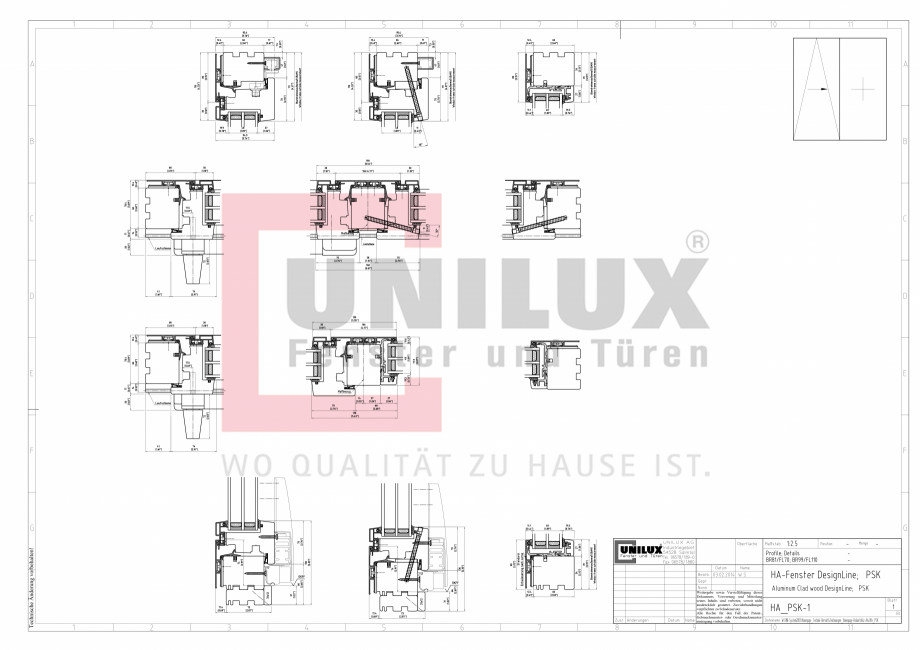 Pagina 1 - CAD-PDF Ferestre din lemn placat cu aluminiu - Detaliu glisanta batanta UNILUX Detaliu de...