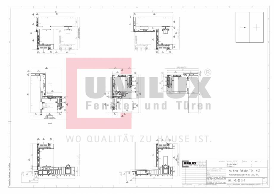 Pagina 1 - CAD-PDF Ferestre din lemn placat cu aluminiu - Detaliu glisanta UNILUX Detaliu de montaj