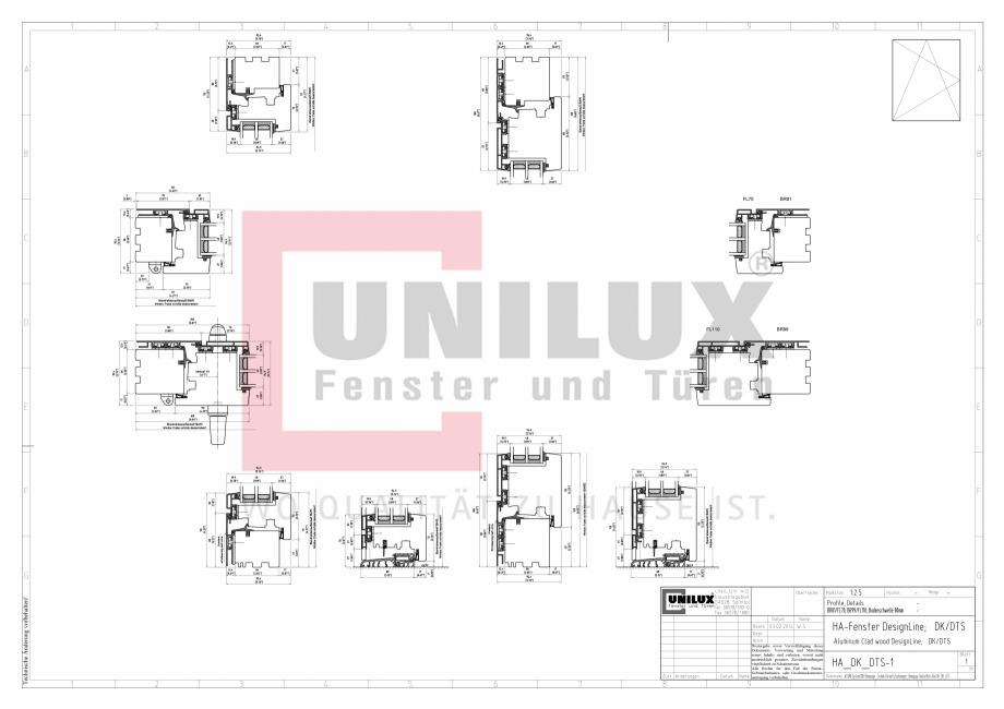 Pagina 1 - CAD-PDF Ferestre din lemn placat cu aluminiu - Detaliu post oscilobatant UNILUX Detaliu...