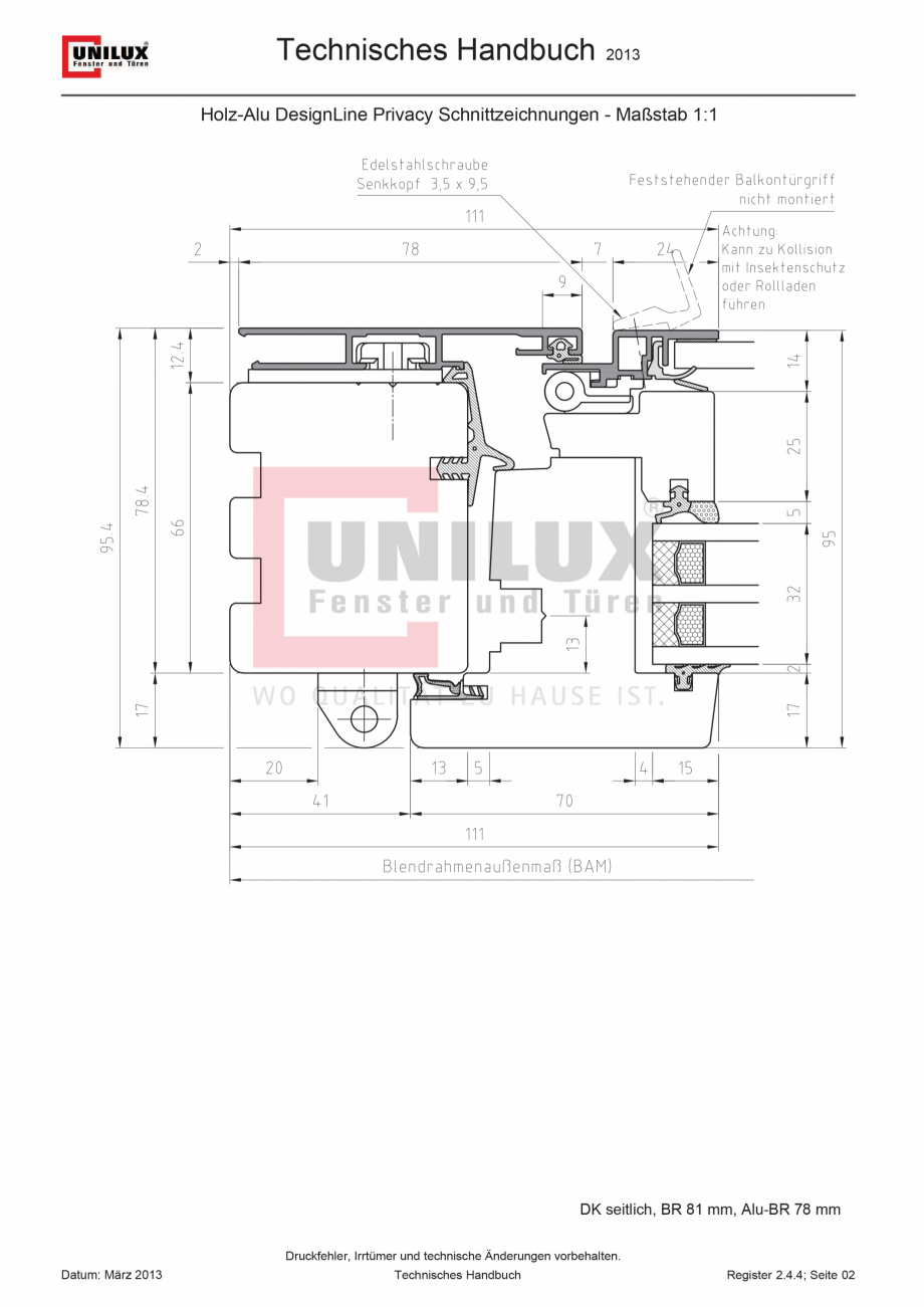 Pagina 1 - CAD-PDF Ferestre din lemn placat cu aluminiu - deschidere laterala UNILUX Detaliu de...