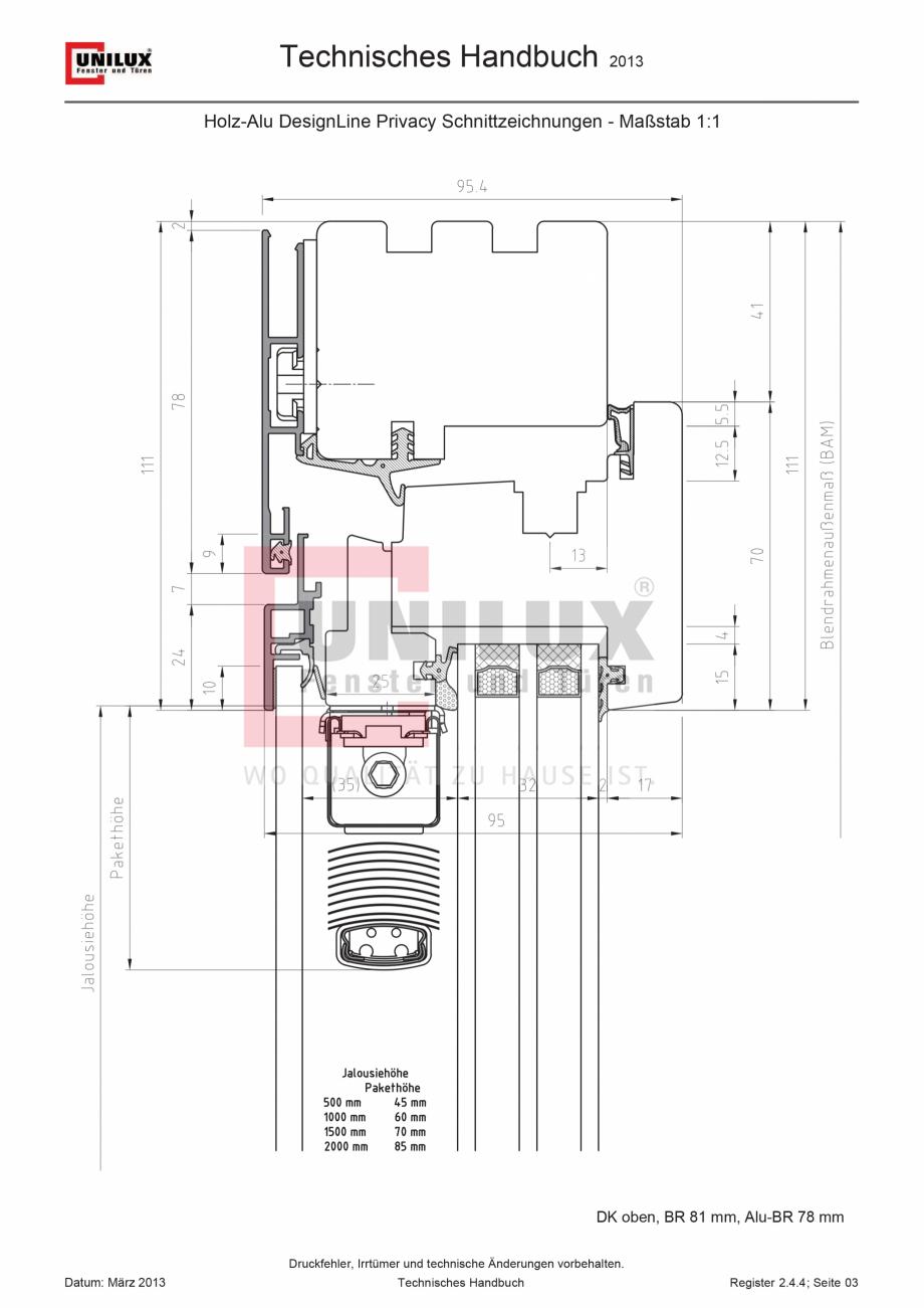 Pagina 1 - CAD-PDF Ferestre din lemn placat cu aluminiu  UNILUX Detaliu de montaj DesingLine Privacy...