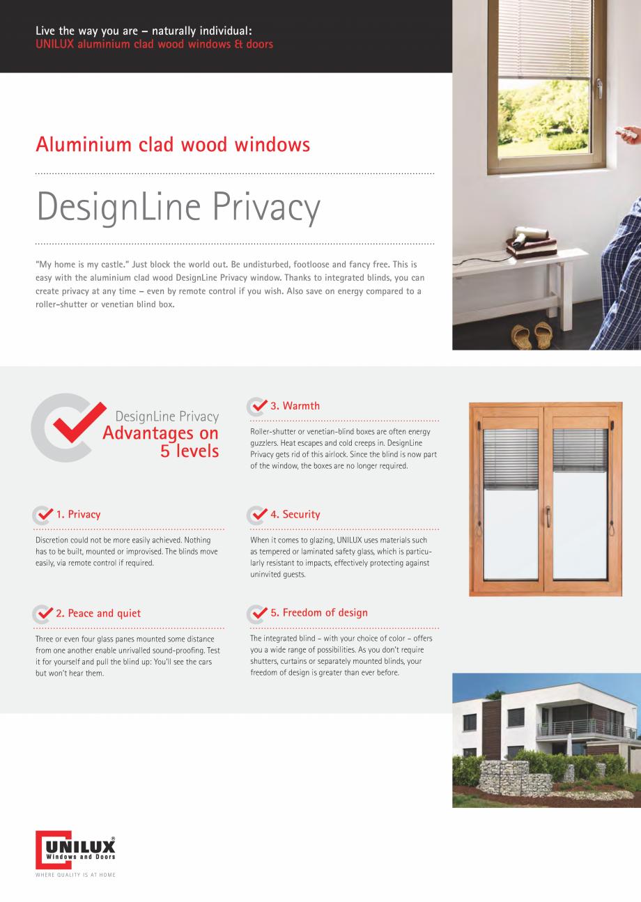 Pagina 14 - Ferestre din lemn UNILUX DesingLine Privacy Catalog, brosura Engleza 5 btu/ft hF ue...