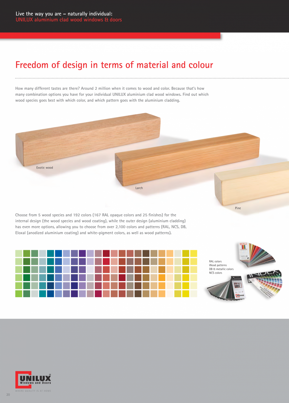 Pagina 20 - Usi de terasa UNILUX JUMBOLINE Catalog, brosura Engleza ating) and white-pigment colors,...