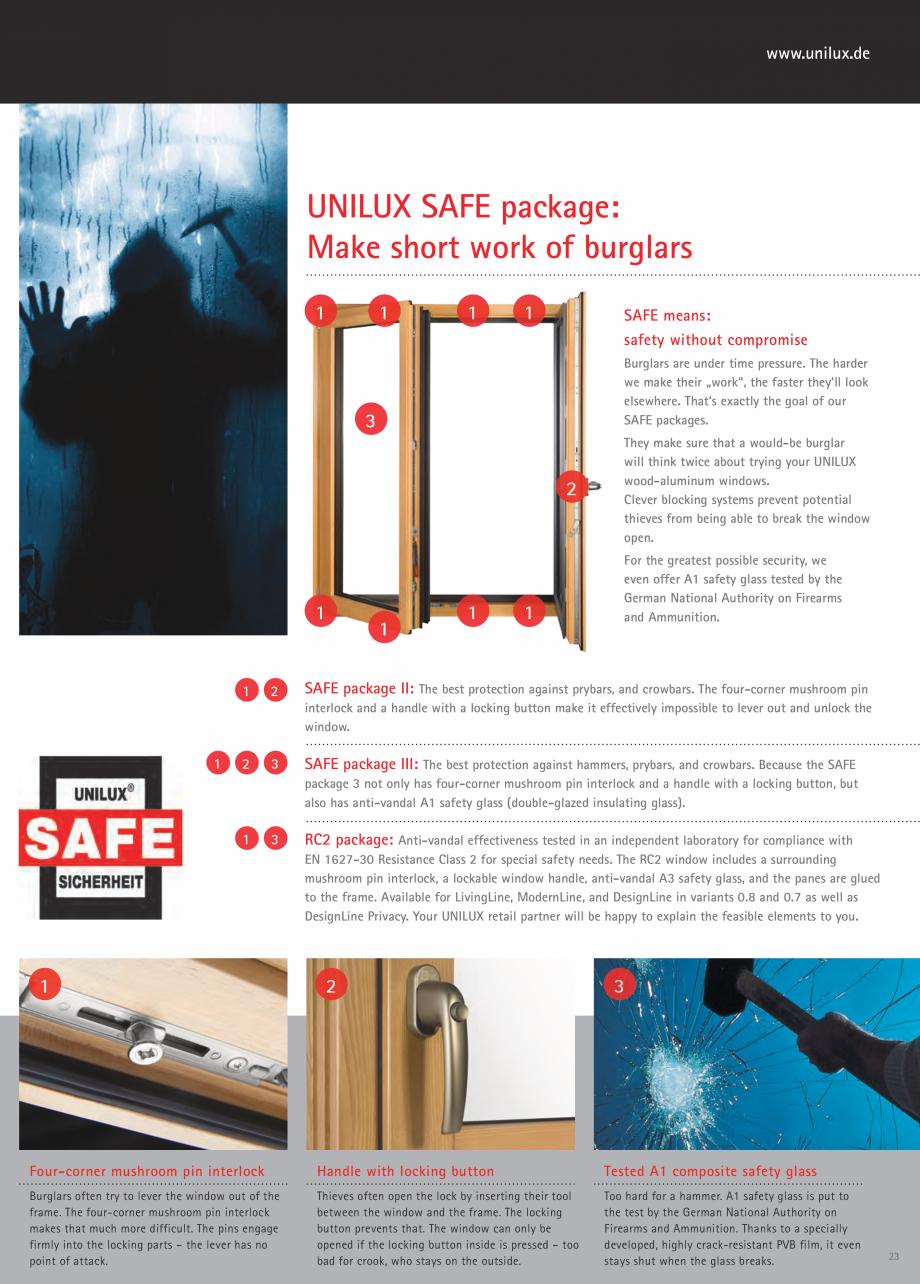 Pagina 23 - Usi de terasa UNILUX JUMBOLINE Catalog, brosura Engleza ushroom pin interlock and a...