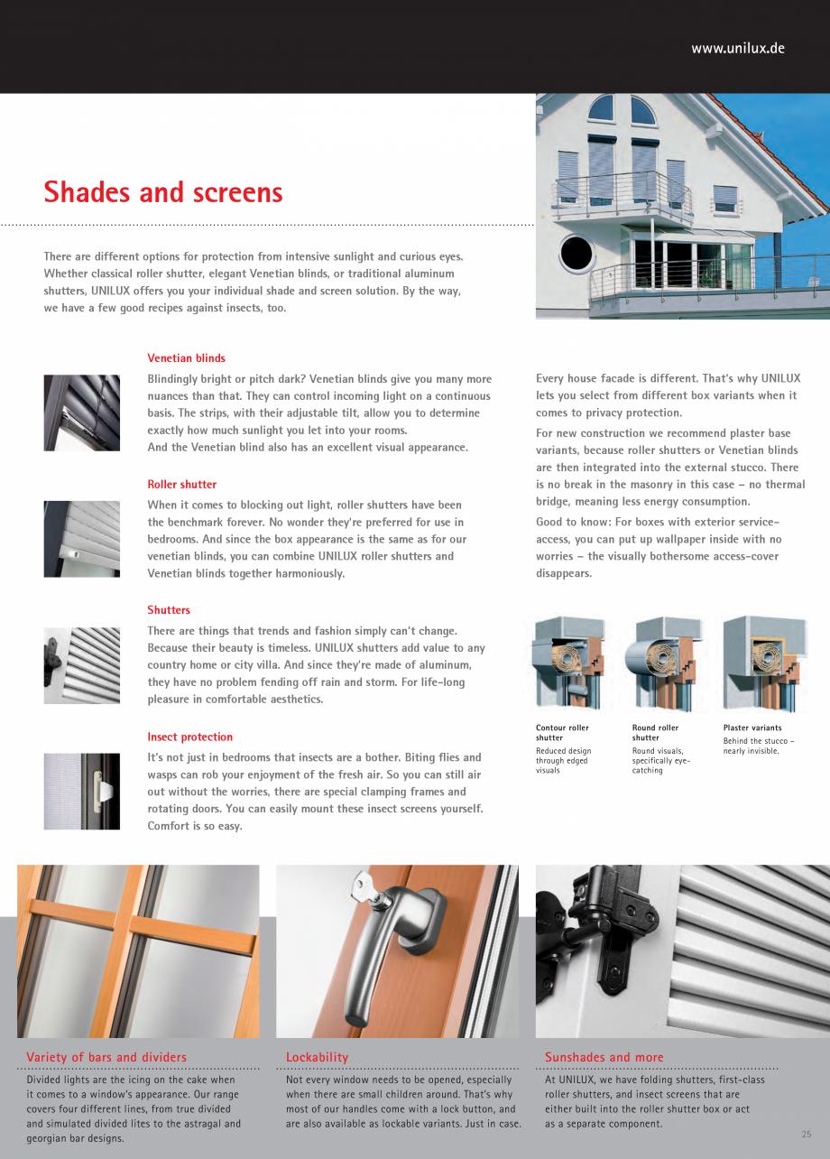 Pagina 25 - Usi de terasa UNILUX JUMBOLINE Catalog, brosura Engleza ste and style.  Standard handle ...