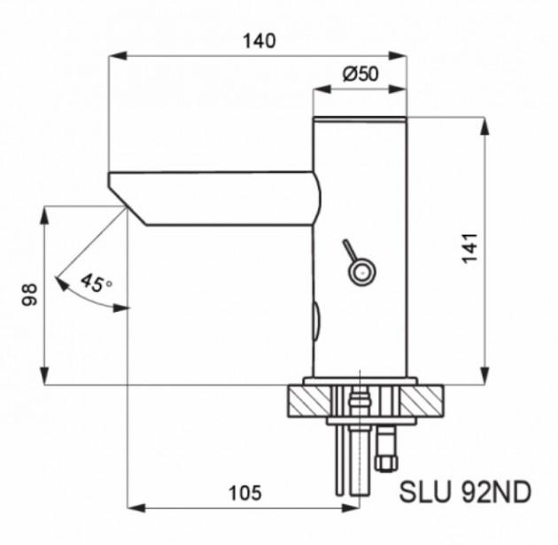 Schiță dimensiuni Baterie lavoar cu senzor si mixer - SLU 92ND