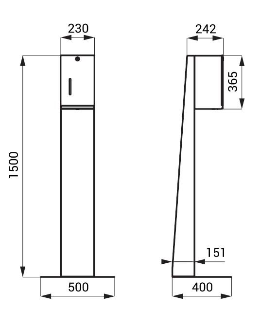Schiță dimensiuni Distribuitor automat de dezinfectare din oțel inoxidabil pentru dezinfectarea maninilor cu lichid sau gel