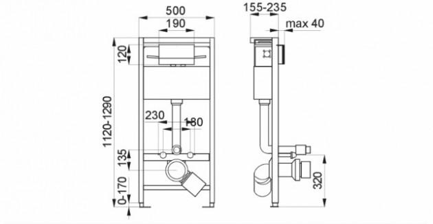 Schiță dimensiuni Cadru de montaj cu rezervor pentru vas WC suspendat - SANELA SLR 21