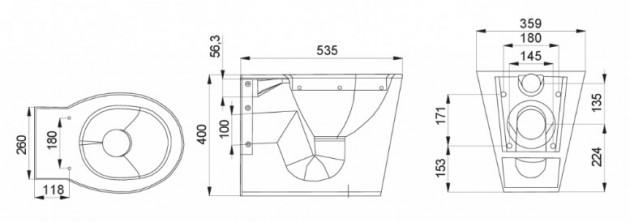Schiță dimensiuni Vas WC stativ din otel inox - SANELA SLWN 03