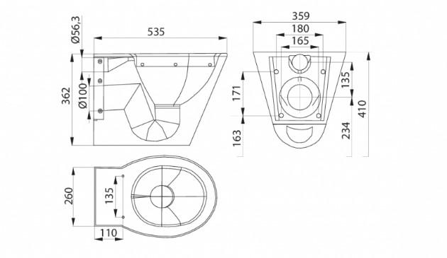 Schiță dimensiuni Vas WC suspendat din otel inox - SANELA SLWN 04