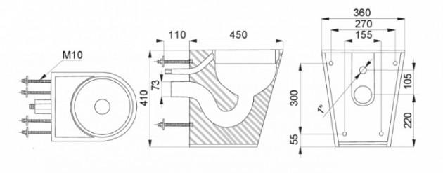 Schiță dimensiuni Vas WC stativ din otel inox - SANELA SLWN 05
