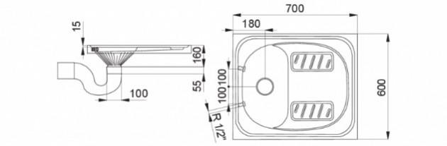Schiță dimensiuni Toaleta turceasca din otel inox - SANELA SLWN 07