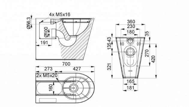 Schiță dimensiuni Vas WC stativ pentru persoane cu dizabilitati - SANELA SLWN 13