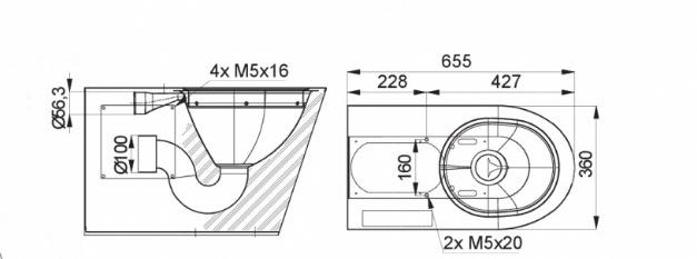 Schiță dimensiuni Vas WC stativ din otel inox, design antivandal - SANELA SLWN 14
