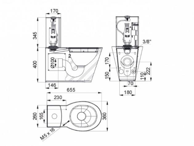 Schiță dimensiuni Vas WC din otel inox cu rezervor - SANELA SLWN 15