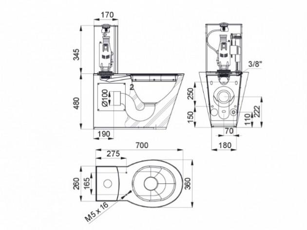 Schiță dimensiuni Vas WC din otel inox cu rezervor pentru persoane cu dizabilitati - SANELA SLWN