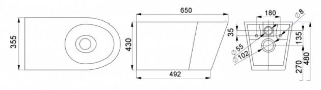 Schiță dimensiuni Vas WC stativ din otel inox - SANELA SLWN 17