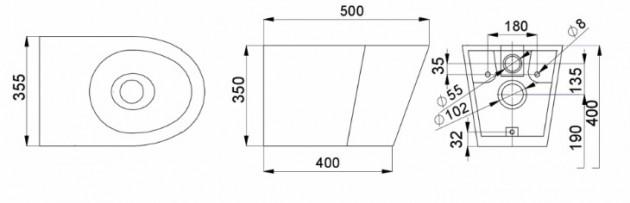 Schiță dimensiuni Vas WC suspendat din otel inox - SANELA SLWN 19