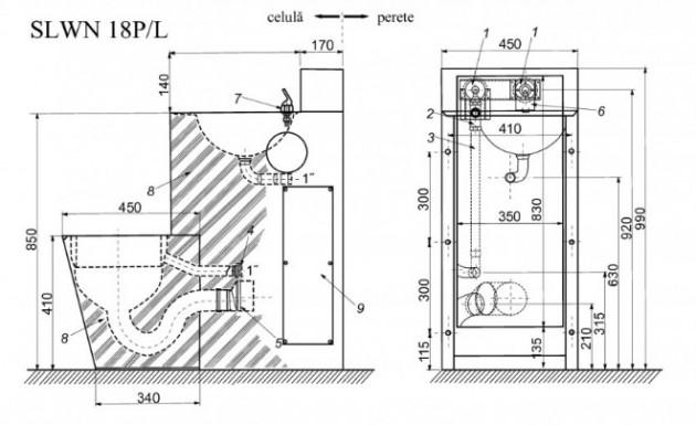 Schiță dimensiuni Combinatie de lavoar si vas WC din otel inox - SANELA SLWN 18L