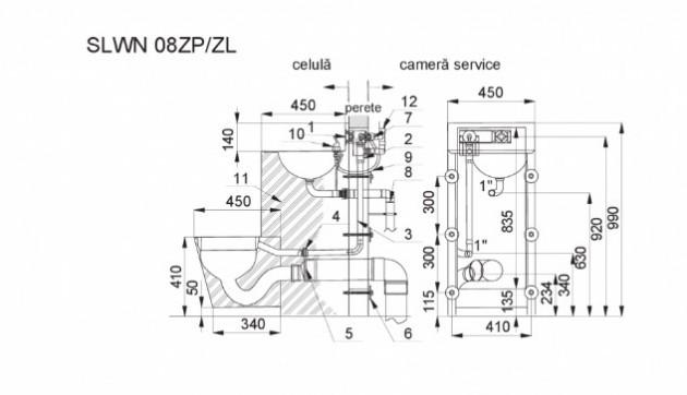 Schiță dimensiuni Combinatie de lavoar si vas WC din otel inox - SANELA SLWN 08ZP