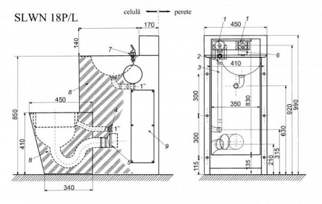 Schiță dimensiuni Combinatie de lavoar si vas WC din otel inox - SANELA SLWN 18P