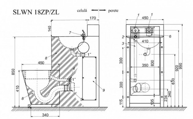 Schiță dimensiuni Combinatie de lavoar si vas WC din otel inox - SANELA SLWN 18ZL