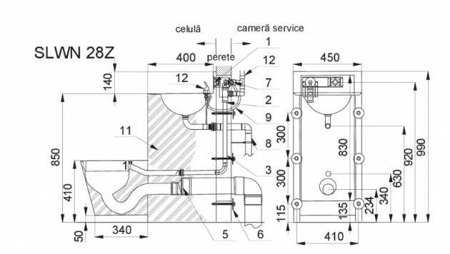 Schiță dimensiuni Combinatie de lavoar si vas WC din otel inox - SANELA SLWN 28Z