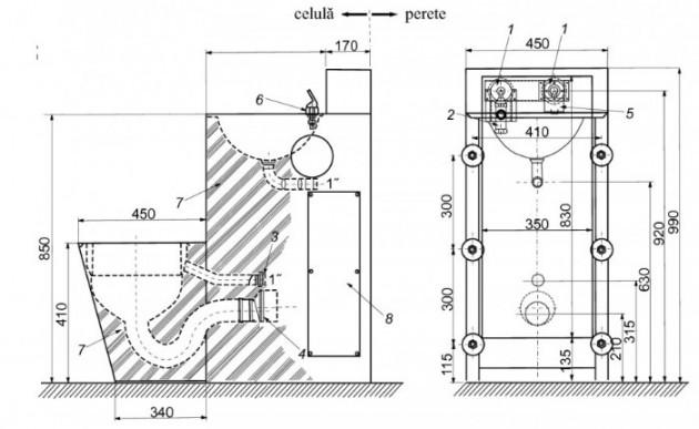 Schiță dimensiuni Combinatie de lavoar si vas WC stativ din otel inox - SANELA SLWN 38