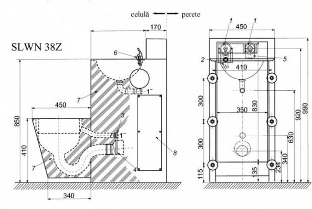 Schiță dimensiuni Combinatie de lavoar si vas WC suspendat din otel inox antivandal - SANELA SLWN