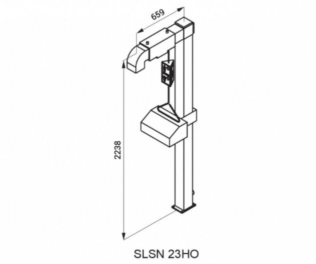 Schiță dimensiuni Dus stativ de urgenta pentru corp ochi - amplasare la exterior - SANELA SLSN