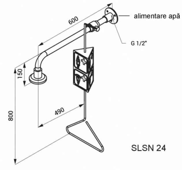 Schiță dimensiuni Dus de urgenta stativ cu maner de actionare si rozeta cu autocuratire - SANELA