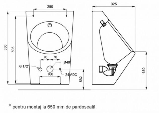Schiță dimensiuni Pisoar din otel inox - SANELA SLPN 07E