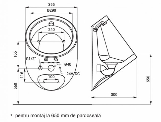 Schiță dimensiuni Pisoar din otel inox antivandal - SANELA SLPN 09