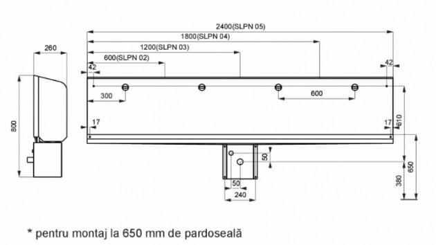 Schiță dimensiuni Pisoar de perete tip jgheab din otel inox - SANELA SLPN 03