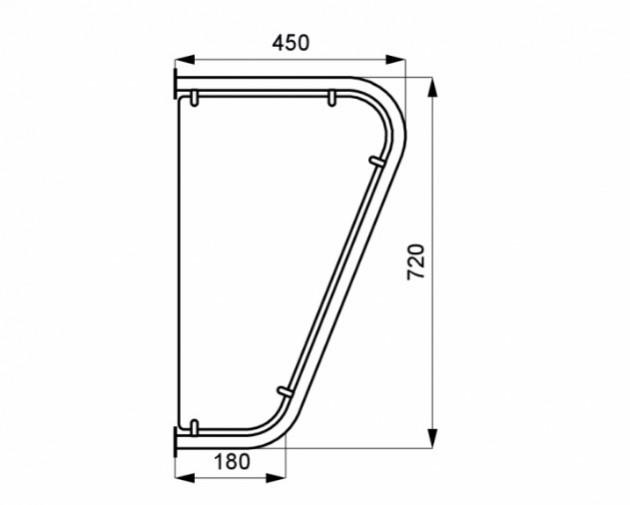 Schiță dimensiuni Perete despartitor pentru pisoare din otel inox - SANELA SLZN 13